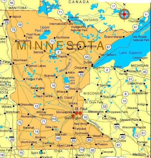 Midwest Region ~ Club Map of Minnesota